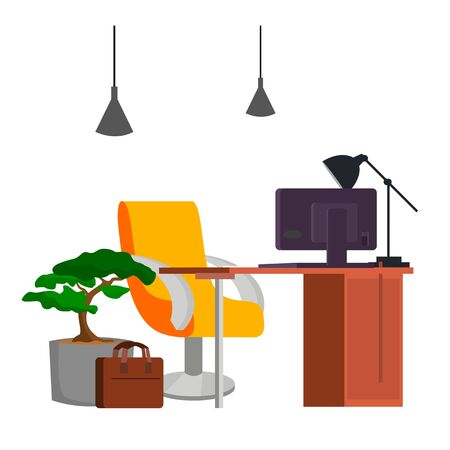 Office Workplace Vector. Office Desk, PC. Modern Developer Studio Interior. Computer Illustration. Illustration