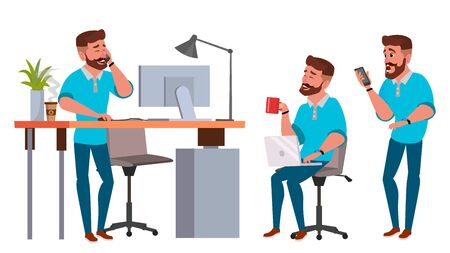 Business Man Character Vector. Working Male. Environment Process. Start Up. Bearded. Casual Clothes. Full Length. Programmer, Manager. Expressions. Flat Cartoon Business Character Illustration