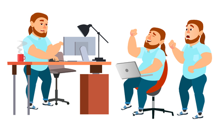 Business Man Character Vector. Working Boy, Man. Team Room. Brainstorming. Environment Process In Start Up Office. Programmer, Designer. Isolated On White Cartoon Business Character Illustration Vettoriali