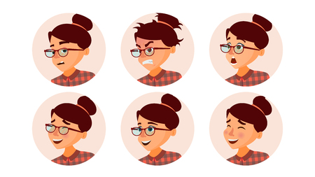 Business Woman Avatar Vector. Woman Face, Emotions Set. Female Avatar Placeholder. Modern Girl. Cartoon Flat Isolated Illustration