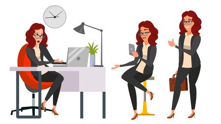 Business Woman Character Vector. Working Girl. Environment Process Creative Studio. Work Situations In Action. Girl Boss. Programming, Planning. Designer, Manager. Poses. Business Illustration