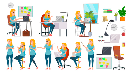 Business Woman Lady Character Vector. Working Female In Action. IT Startup Business Company. Effective Salesperson. Desk. Full Length. Girl Programmer. Expressions. Business Character Illustration