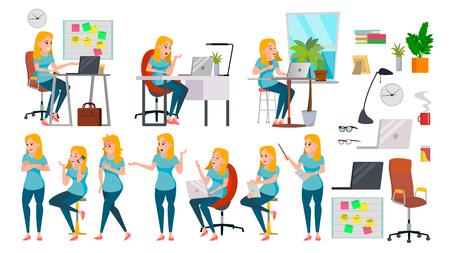 Mujer de negocios señora vector de carácter. Mujer trabajando en acción. Empresa de IT Startup. Vendedor eficaz. Escritorio. Longitud total. Chica Programadora. Expresiones Ilustración de personaje de negocios