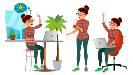 Business Woman Character Vector. Working Girl. Environment Process Creative Studio. Lifestyle Situations. Programming, Planning. Designer, Manager. Poses. Flat Cartoon Business Illustration