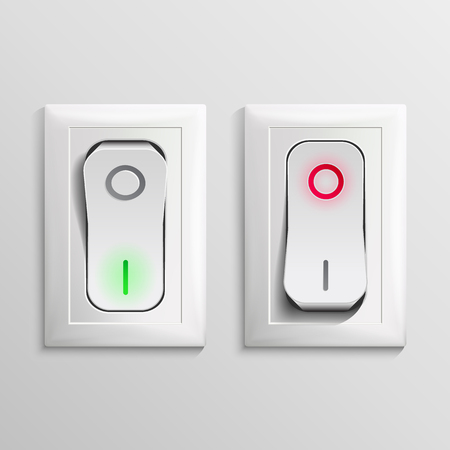 3D Toggle Switch Vector. White Switches With On, Off Position. Electric Light Control Illustration. Reklamní fotografie - 94027106