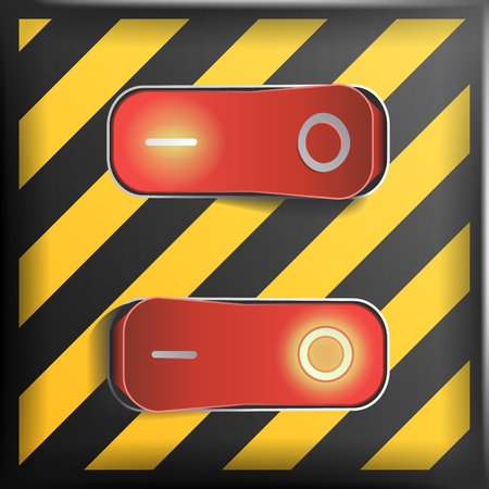 Realistic Toggle Switch Vector. Danger Background. Red Switches With On, Off Position.