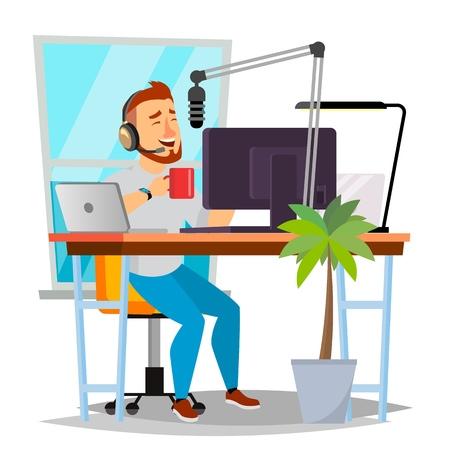 Radio DJ Man Vector. Broadcasting. Modern Radio Station. Man Speak Into The Microphone. Isolated Flat Cartoon Illustration Vettoriali