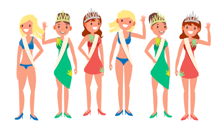 Beauty Pageant Vector. Woman On Beauty Pageant. Queen Smiling. Isolated Flat Cartoon Illustration  イラスト・ベクター素材