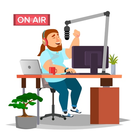 Radio DJ Vector. Modern Radio Station. Studio. On Air. Broadcasting. Isolated Flat Cartoon Illustration