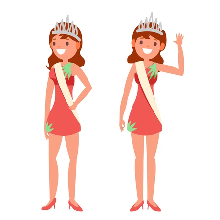 Beauty Pageant Vector. Woman On Beauty Pageant. Miss Universe. Isolated Flat Cartoon Illustration  イラスト・ベクター素材