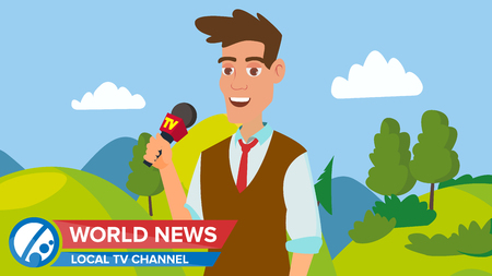 Journalist Man On Air. News Reporter Performing Concept Vector. Male With Microphone. Video Camera Viewfinder. Employment Television Journalist. Flat Cartoon Illustration Vectores