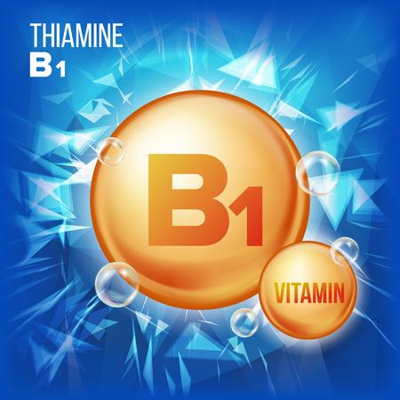 Vitamin B1 Thiamine Vector. Vitamin Gold Oil Pill Icon. Organic Vitamin Gold Pill Icon. For Beauty, Cosmetic, Heath Promo Ads Design. 3D Vitamin Complex With Chemical Formula.