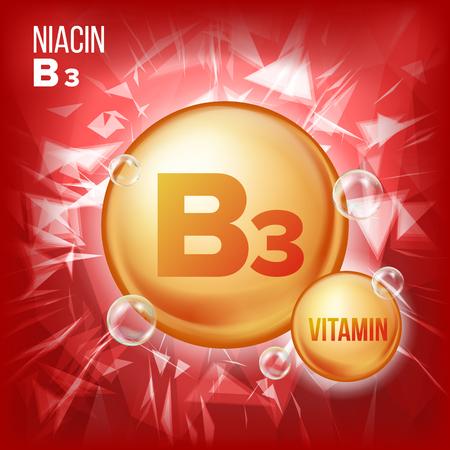 ビタミンB3ナイアシンベクター。ビタミンゴールドオイルピルアイコン。オーガニックビタミンゴールドピルアイコン。薬カプセル、黄金の物質。美