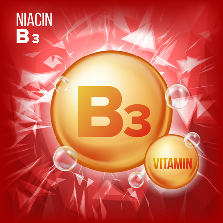 Vitamin B3 Niacin Vector. Vitamin Gold Oil Pill Icon. Organic Vitamin Gold Pill Icon. Medicine Capsule, Golden Substance. For Beauty, Cosmetic, Heath Promo Ads Design. 3D Vitamin Complex. Illustration