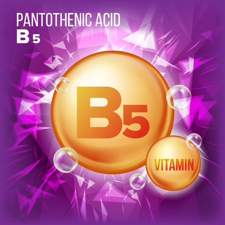 Vitamin B5 Pantothenic Acid Vector. Vitamin Gold Oil Pill Icon. Organic Vitamin Gold Pill Icon. Capsule, Golden Substance. For Beauty, Cosmetic Ads Design. Complex With Chemical Formula. Illustration
