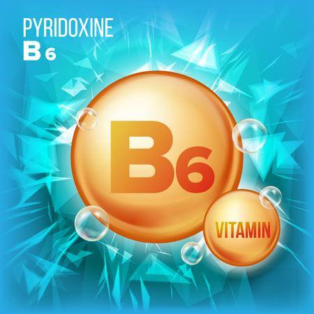 Vitamin B6 Pyridoxine Vector. Vitamin Gold Oil Pill Icon.Organic Vitamin Gold Pill Icon. For Beauty, Cosmetic, Heath Promo Ads Design. 3D Vitamin Complex With Chemical Formula. Illustration Vettoriali