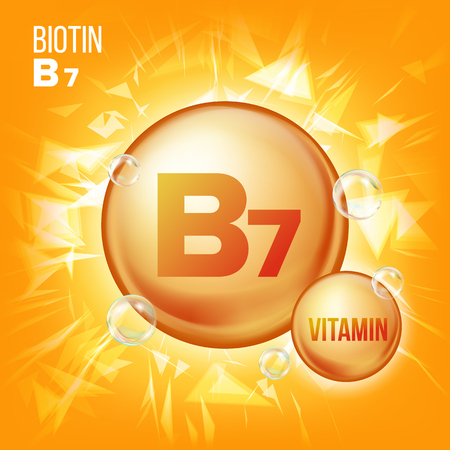 Vitamin B7 Biotin Vector. Vitamin Gold Oil Pill Icon. Organic Vitamin Gold Pill Icon. Medicine Capsule, Golden Substance. For Promo Ads Design. 3D Vitamin Complex With Chemical Formula. Illustration