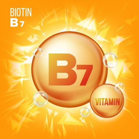 Vitamin B7 Biotin Vector. Vitamin Gold Oil Pill Icon. Organic Vitamin Gold Pill Icon. Medicine Capsule, Golden Substance. For Promo Ads Design. 3D Vitamin Complex With Chemical Formula. Illustration