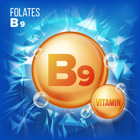 Vitamin B9 Folates Vector. Vitamin Gold Oil Pill Icon. Medicine Capsule, Golden Substance. For Beauty, Cosmetic, Heath Promo Ads Design. 3D Vitamin Complex With Chemical Formula. Illustration Illustration