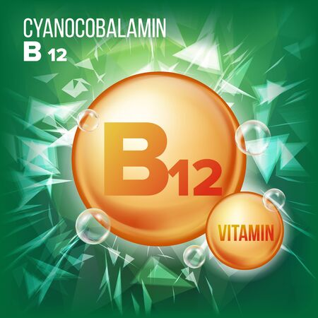Vitamin B12 Cyanocobalamin Vector. Vitamin Gold Oil Pill Icon. Organic Vitamin Gold Pill Icon. For Beauty, Cosmetic, Heath Promo Ads Design. Vitamin Complex With Chemical Formula. Illustration