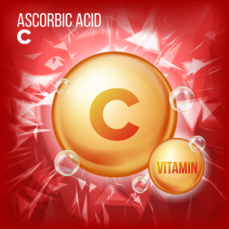 Vitamin C Ascorbic Acid Vector. Organic Vitamin Gold Pill Icon. Medicine Capsule, Golden Substance. For Beauty, Cosmetic, Heath Promo Ads Design. Vitamin Complex Formula. Illustration