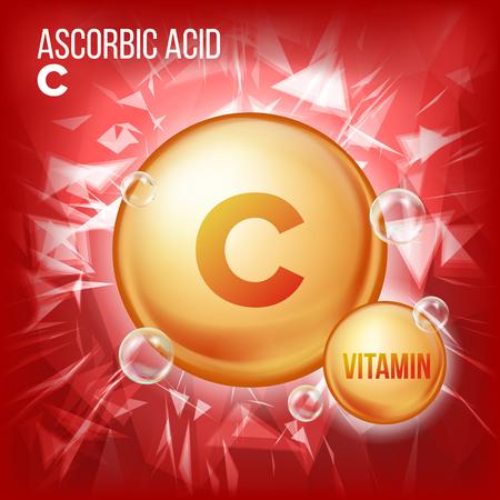 Witamina C kwas askorbinowy wektor. Ikona złotej pigułki witaminy organicznej. Kapsułka leku, złota substancja. Do projektowania reklam promujących piękno, kosmetyki i zdrowie. Formuła kompleksu witamin. Ilustracja
