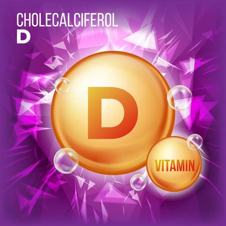 Vitamin D Cholecalciferol Vector. Vitamin Gold Oil Pill Icon. Organic Vitamin Gold Pill Icon. 3D Vitamin Complex Formula. Illustration
