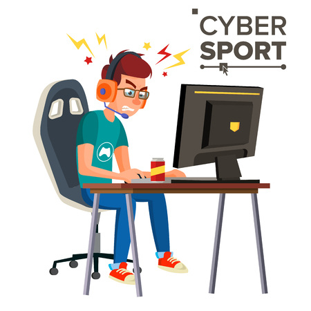 Cyber Sport Player Vector. Playing Computer Game. Professional Gamer. Event. Competition. Game Strategist. Isolated On White Cartoon Character Illustration.