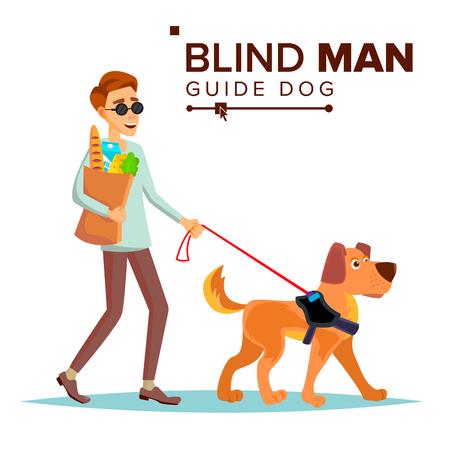 Pessoa cega e cão-guia andando Foto de archivo - 94403160