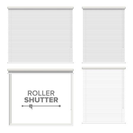 Window With Rolling Shutters Vector. Opened And Closed. Front View. Isolated On White Illustration