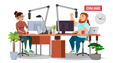 Radio DJ Man And Woman Vector. Broadcasting. Modern Radio Station Studio. Speak Into The Microphone. On Air. Broadcasting. Isolated Illustration