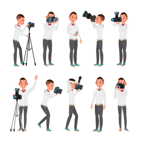 Photographer Vector. Modern Camera. Posing. Full Length Taking Photos. Photojournalist Design. Flat Cartoon Illustration Standard-Bild - 94447999