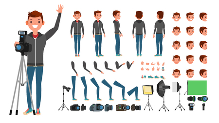Fotógrafo hombre Vector. Tomando fotos. Conjunto de personajes animados. Longitud total. Accesorios, poses, emociones faciales, gestos. Ilustración de dibujos animados plana aislada Ilustración de vector