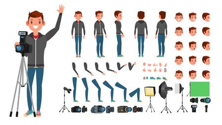 Photographe homme vecteur. Prendre des photos. Personnage animé. Toute la longueur. Accessoires, Poses, Émotions Visage, Gestes. Illustration de dessin animé plat isolé Vecteurs