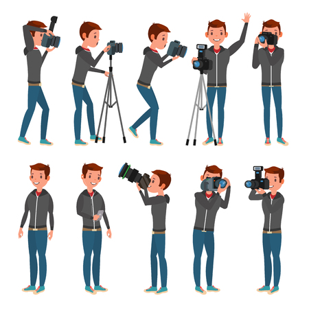 Photographer Vector. Modern Camera. Posing. Full Length Taking Photos. Photojournalist Design. Flat Cartoon Illustration Ilustração