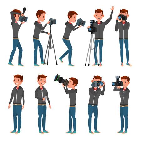 Photographer Vector. Modern Camera. Posing. Full Length Taking Photos. Photojournalist Design. Flat Cartoon Illustration Vectores
