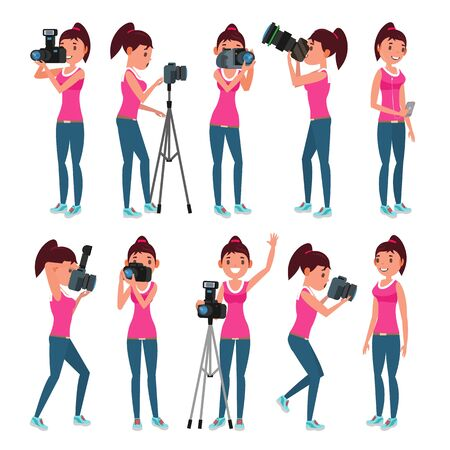 Photographer Female Vector. Modern Camera. Posing. Girl Full Length Taking Photos. Photojournalist, Tourist Design. Flat Cartoon Illustration