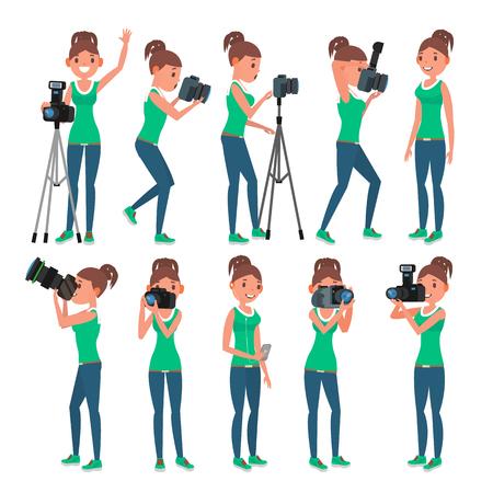 Photographer Female Vector. Modern Camera. Posing. Girl Full Length Taking Photos. Photojournalist, Tourist Design. Flat Cartoon Illustration Standard-Bild - 94448001