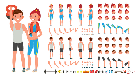 Fitness Girl, Man Vector. Animated Sport Male, Female Character Creation Set. Full Length, Front, side, back view, accessories, poses, face emotions, gestures. Isolated flat cartoon illustration. Ilustração