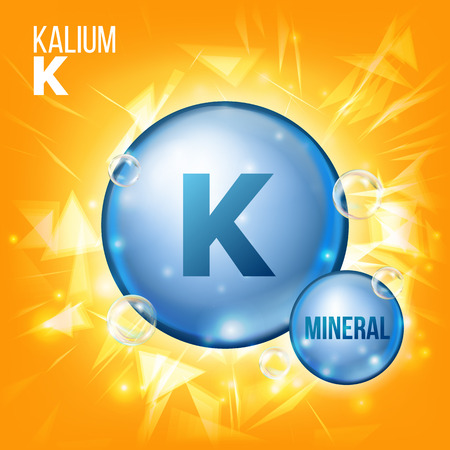 K Kalium Vector. Mineral Blue Pill Icon. Vitamin Capsule Pill Icon. Substance For Beauty, Cosmetic, Heath Promo Ads Design. 3D Mineral Complex With Chemical Formula. Illustration