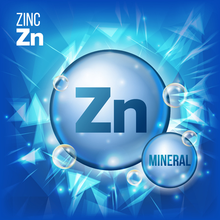 Zn Zinc Vector. Mineral Blue Pill Icon. Vitamin Capsule Pill Icon. Substance For Beauty, Cosmetic, Heath Promo Ads Design. 3D Mineral Complex With Chemical Formula. Illustration