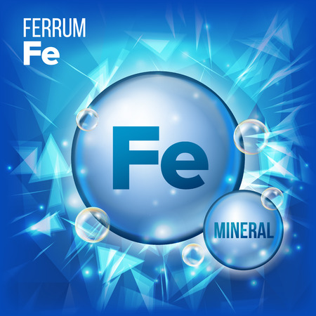 Fe Ferrum Vector. Mineral Blue Pill Icon. Vitamin Capsule Pill Icon. Substance For Beauty, Cosmetic, Heath Promo Ads Design. 3D Mineral Complex With Chemical Formula. Illustration