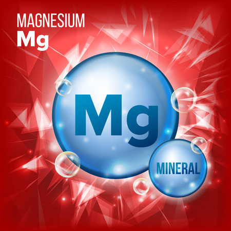 Mg Magnesium Vector. Mineral Blue Pill Icon. Vitamin Capsule Pill Icon. Substance For Beauty, Cosmetic, Heath Promo Ads Design. Mineral Complex With Chemical Formula. Illustration