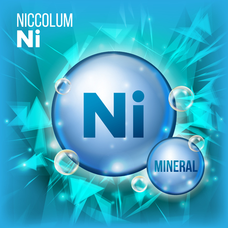 Ni Niccolum Vector. Mineral Blue Pill Icon. Vitamin Capsule Pill Icon. Substance For Beauty, Cosmetic, Heath Promo Ads Design. 3D Mineral Complex With Chemical Formula. Illustration Ilustracja