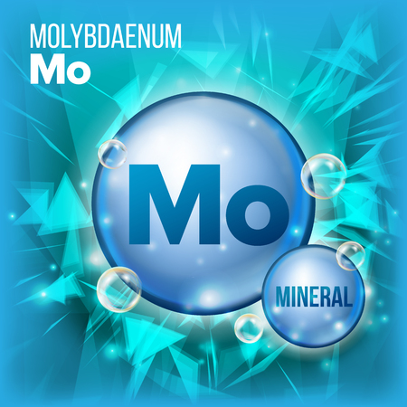 Mo Molybdaenum Vector. Mineral Blue Pill Icon. Vitamin Capsule Pill Icon. Substance For Beauty, Cosmetic, Heath Promo Ads Design. 3D Mineral Complex With Chemical Formula. Illustration Ilustração