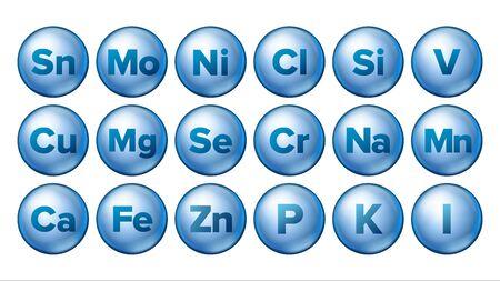 ミネラルアイコンセットベクトル。ミネラルブルーピルアイコン。薬カプセル。物質。化学式を使用した3Dビタミン複合体。分離されたイラスト