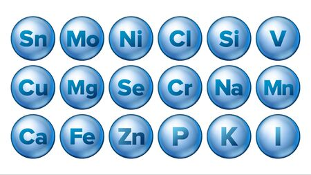 Mineral Icons Set Vector. Mineral Blue Pill Icon. Medicine Capsule. Substance. 3D Vitamin Complex With Chemical Formula. Isolated Illustration