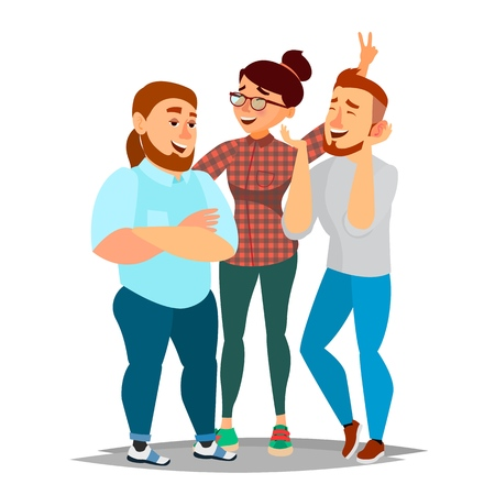 People Group Taking Photo Vector. Laughing Friends, Office Colleagues. Man And Women Take A Picture. Friendship Concept. Isolated Flat Cartoon Illustration Illustration