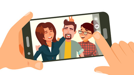 Taking photo on smartphone vector, smiling friends taking selfie. People posing, hand holding smartphone, friendship concept isolated flat cartoon illustration.