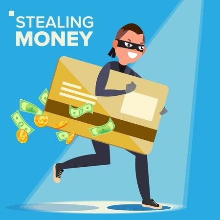 Thief Character Vector. Hacker Stealing Sensitive Data, Money From Credit Card. Hacking PIN Code. Breaking, Attacking. Flat Cartoon Illustration Illustration